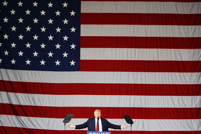 Republican presidential candidate Donald Trump speaks during a campaign rally, Monday, Oct. 24, 2016, in St. Augustine, Fla. (AP Photo/ Evan Vucci)